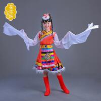 少数民族儿童舞蹈服装藏族女童水袖演出服装西藏长袖舞台表演服