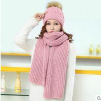 毛线帽子女韩版可爱毛球保暖加厚围巾两件套新款百搭时尚针织帽