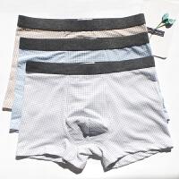 3条装夏天文艺青年格子日系潮棉透气薄男士内裤男平角中腰裤衩 蓝 咖啡 灰