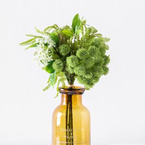奇居良品 手感仿真绿色植物混合花束装饰花卉 玉莲路路通凤凰叶把束