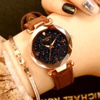 时尚韩版女士手表防水简约休闲大气复古中学生皮带石英表