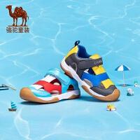 骆驼童鞋男童凉鞋女童新款透气拼接小童鞋防滑魔术贴包头机能鞋子