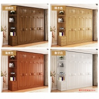 中式实木衣柜家用衣柜木制挂衣橱原木橱子橡木柜子卧室家具白色 6门 组装
