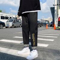 秋季男士牛仔裤直筒宽松休闲长裤韩版潮流潮牌百搭九分裤