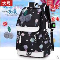 双肩包女韩版印花时尚新款学院风潮流大中学生书包旅行包背包