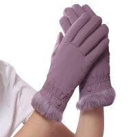 韩版触屏防寒骑车开车防滑羽绒棉手套女士加绒加厚保暖手套