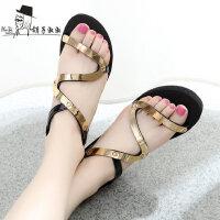 韩版时尚学生鞋防滑女鞋休闲鞋子chic凉鞋女坡跟中跟凉鞋