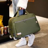 新品可背可拉可提拉杆包双肩背包旅行袋万向轮可拆商务轻防水 军绿色 军绿色