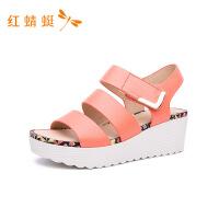 红蜻蜓女凉鞋夏季新款真皮透气休闲平底鞋舒适凉鞋