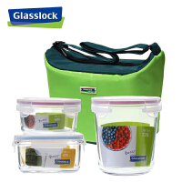 Glasslock 三光云彩 钢化玻璃保鲜盒便当盒收纳保鲜碗三件套装GL832