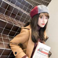 韩版羊毛呢加厚蓓蕾帽子 日系百搭贝雷帽女南瓜帽 新款甜美英伦画家帽子