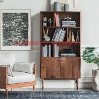 北欧黑胡桃木实木书柜简约现代多功能储物柜落地柜书橱樱桃木书架 0.8-1米宽