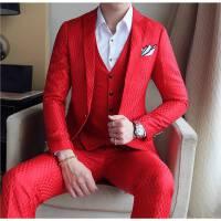 新款商务型男千鸟格子西装马甲西裤三件套男士修身免烫婚庆礼服潮