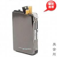 爱尔凯 黑金刚 10支装自动烟盒带打火机 黑冰拉丝镜面 香菸盒