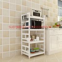 实木厨房置物架白色落地微波炉架烤箱架多层厨房收纳架