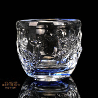 日式水晶浮雕功夫茶杯主人杯个人杯手工玻璃品茗单杯加厚耐热茶盏 大号龙凤呈祥杯(80ml)