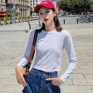 欧若珂 2018秋装打底女紧身长袖t恤漏肚脐高腰短款修身