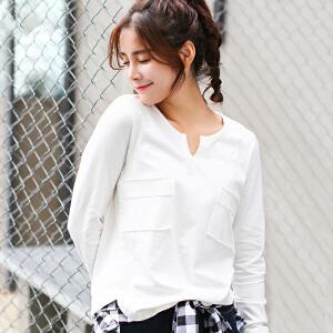 秋季新款纯棉白色t恤女长袖v领韩版宽松打底衫百搭秋冬装上衣潮