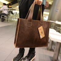 新款韩版男包 复古单肩包 子母包 手提包潮流休闲公文包 潮包 咖啡色