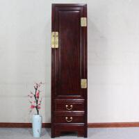 现代中式实木香樟木古典单门衣柜小户型卧室整体衣橱收纳储物柜子 单门 整装