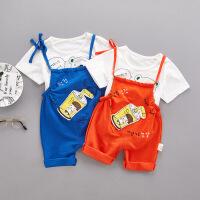 婴儿背带裤套装男童女童洋气时尚夏装宝宝夏天衣服2两件套0-1-3岁