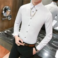 气质男士衬衣春秋发型师商务英伦上班职业修身长袖衬衫(送挂链)
