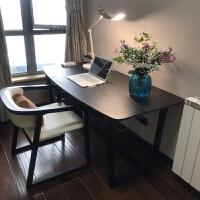北欧书桌实木办公桌黑色现代简约电脑桌写字台书房家具套装组合 1.4米书桌+书椅【收藏*】 备注颜色椅子款式 否