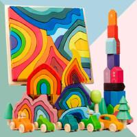 彩虹�e木四大元素森林火焰海浪珊瑚�鼍暗����木搭拼益智�和�玩具