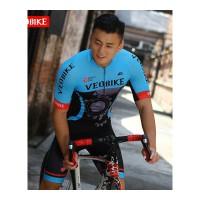 夏季骑行服男短袖套装山地车自行车骑行服短裤版 V16-10齿轮男款短套装蓝色