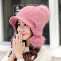 韩版兔毛帽子甜美可爱女帽 户外加厚保暖针织帽加绒护耳帽子 百搭毛线帽保暖针织帽女