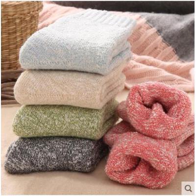 袜子女士加厚加绒羊毛袜中筒毛圈保暖袜女毛巾袜睡眠袜长袜