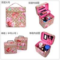 韩国大容量化妆包复古印花手提化妆箱双层便携化妆品护肤品收纳包