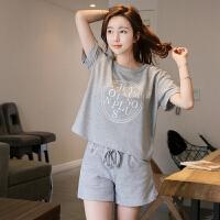 套装 女士圆领印花字母T恤2019夏季新款韩版时尚女式休闲洋气短袖+短裤女装运动装两件套
