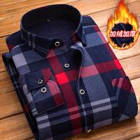 冬季保暖衬衫男士加绒加厚格子衬衣