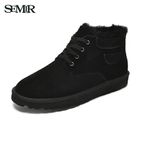Semir休闲靴男2017冬季新系带舒适保暖牛皮时尚雪地鞋平跟马丁靴