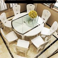 �x桌卓子�x桌椅组合接待桌椅电磁炉餐桌折叠餐桌椅组合现代简约8人小户型多功能实伸缩吃饭电磁炉圆桌w