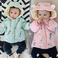婴儿加绒上衣加厚保暖冬季外套新生儿男女宝宝外出服0-1岁拉链衫
