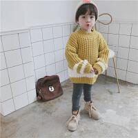 2017秋装新款儿童加厚套头中长款毛衣韩版男女童宝宝粗线针织衫潮