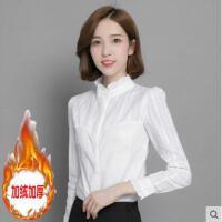 衬衫女长袖韩范户外新品网红同款新款加绒加厚立领纯棉百搭上衣打底白衬衣