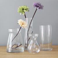 创意水晶客厅餐桌装饰花器摆件简约透明玻璃花瓶富贵竹玫瑰花插