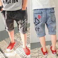 儿童牛仔短裤男童五分裤纯棉薄款夏装2018新款韩版潮中童时尚裤子
