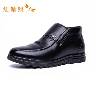 【专柜正品】红蜻蜓男鞋潮流低帮圆头加绒保暖爸爸鞋男皮鞋
