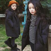 女童韩版冬装加厚呢子大衣中大童夹棉保暖翻领长袖外套妮子亲子装