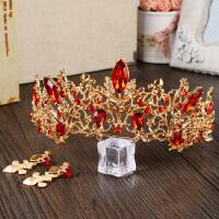 欧式复古皇冠新娘头饰红色结婚发饰发箍影楼婚纱礼服配饰 均码