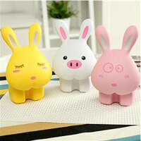 伊品堂 卡通兔兔台灯 LED护眼台灯 USB/直插充电阅读台灯粉色