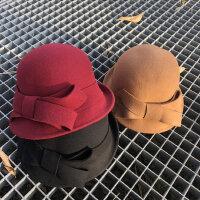 韩版百搭毛毡帽 新款帽子女时尚礼帽 户外保暖卷边蝴蝶结复古盆帽女