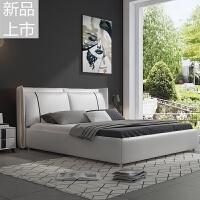 床双人床1.8米1.5米后现代简约港式轻奢北欧皮艺床主客卧皮床定制