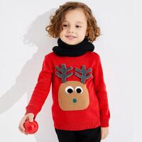 【2件3折到手价:69】小猪班纳童装宝宝毛衣2019冬季新款儿童鹿头卡通针织衫休闲套头衫