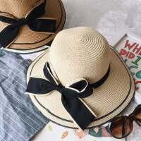 韩版大沿帽女士度假防晒遮阳帽 户外出游太阳帽蝴蝶结折叠沙滩帽子女