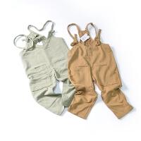 2018年春装新款女童运动休闲背带裤T7063